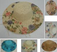 "Ladies Woven Summer Hat [5"" Printed Floral Brim]"